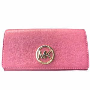 Michael Kors Rose Fulton Carryall Leather Wallet